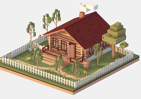 Isometric Village Wood Log House Cottage Garden - 3DOcean Item for Sale