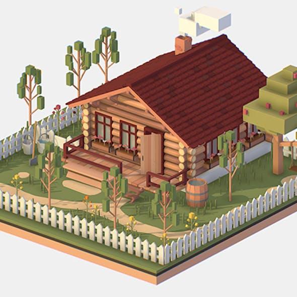 Isometric Village Wood Log House Cottage Garden