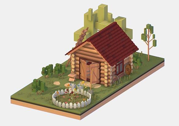 Isometric Village Wood Garden Depot Hangar Shed - 3DOcean Item for Sale