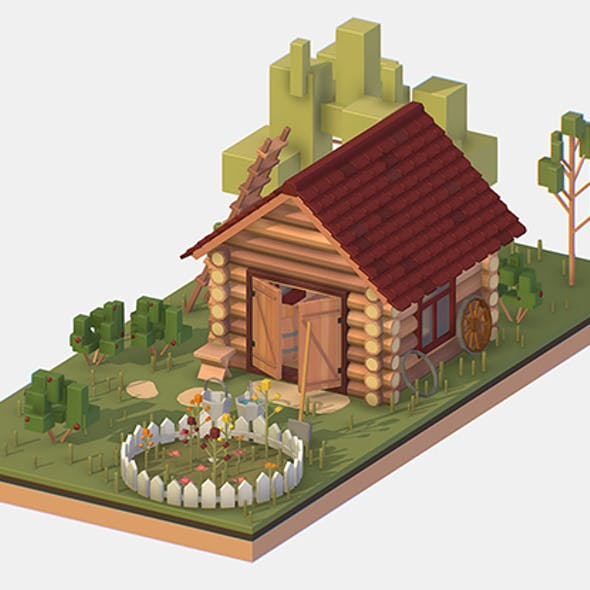 Isometric Village Wood Garden Depot Hangar Shed