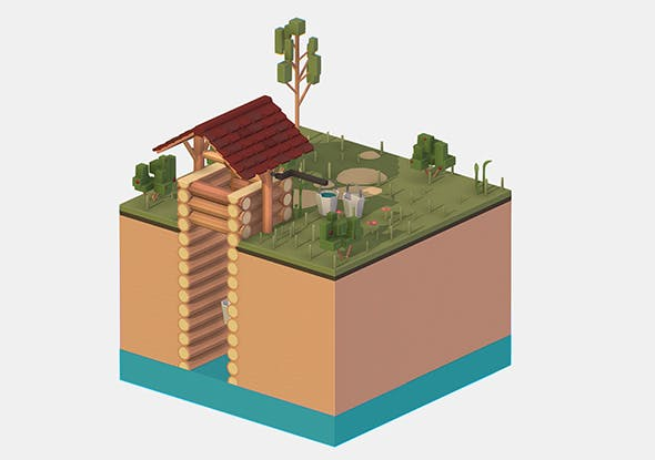 Isometric European Village Well Draw-Well - 3DOcean Item for Sale