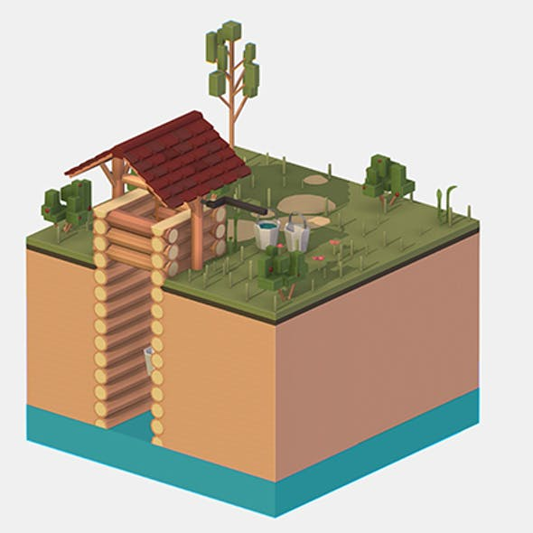 Isometric European Village Well Draw-Well