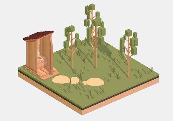 Isometric Village Wood WC street Toilet - 3DOcean Item for Sale