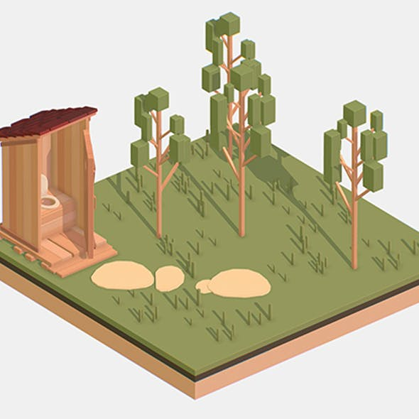 Isometric Village Wood WC street Toilet