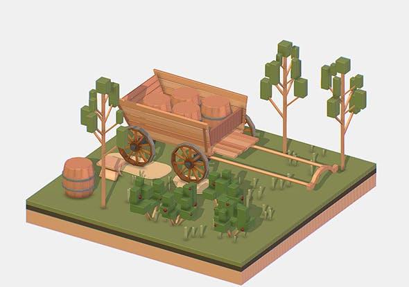 Isometric Village Wood Cart Barrel - 3DOcean Item for Sale