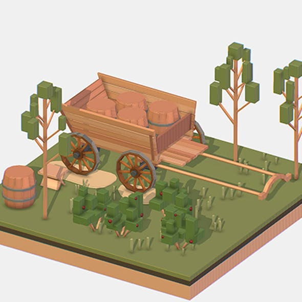 Isometric Village Wood Cart Barrel