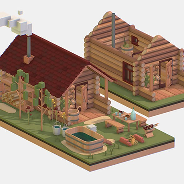 Isometric Russian Village Bathhouse & Bath Accessories