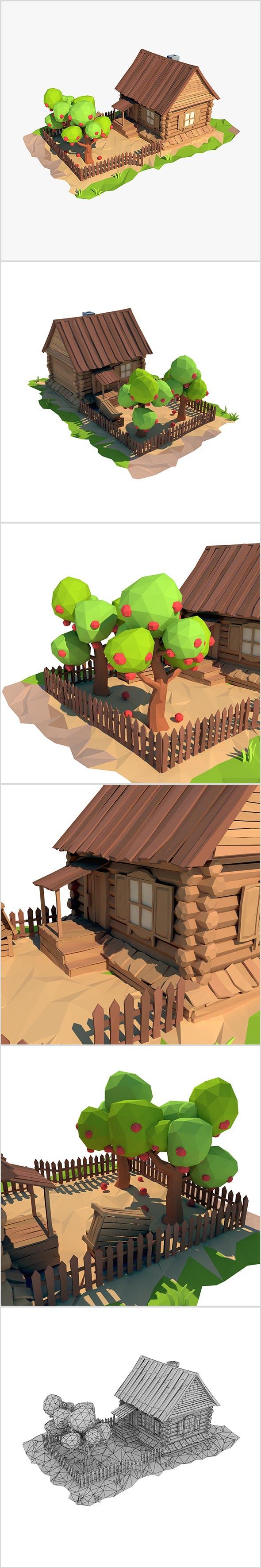 Cartoon wooden house - 3DOcean Item for Sale
