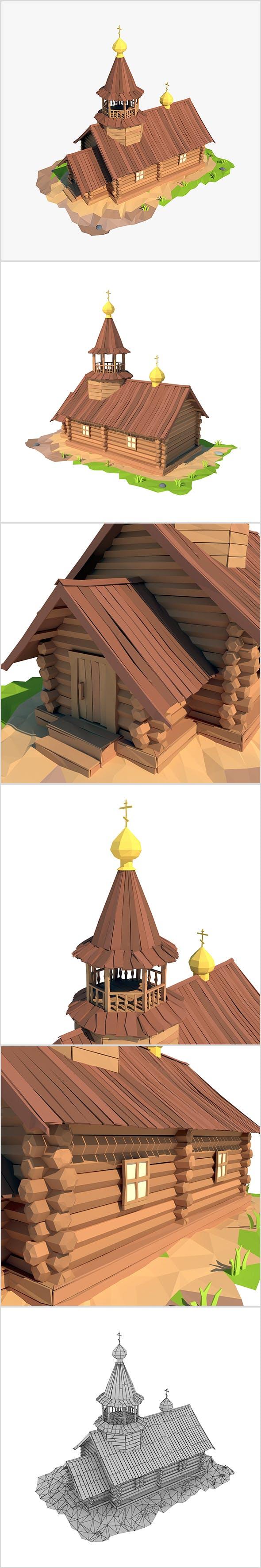 Cartoon wooden church - 3DOcean Item for Sale