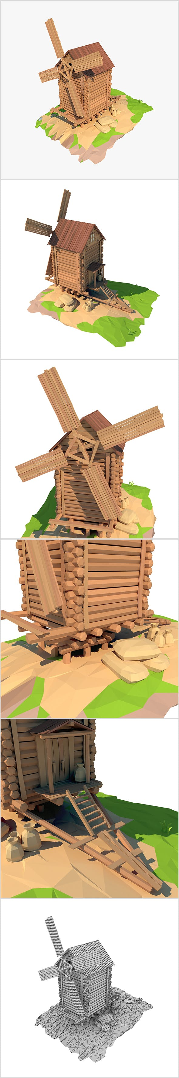 Cartoon wooden windmill - 3DOcean Item for Sale