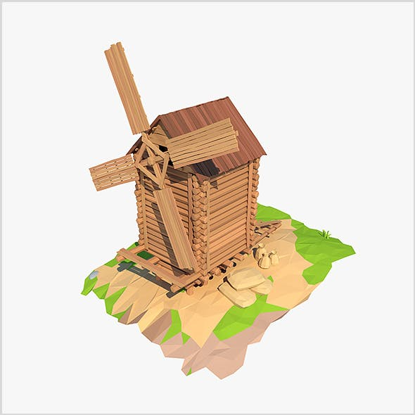 Cartoon wooden windmill