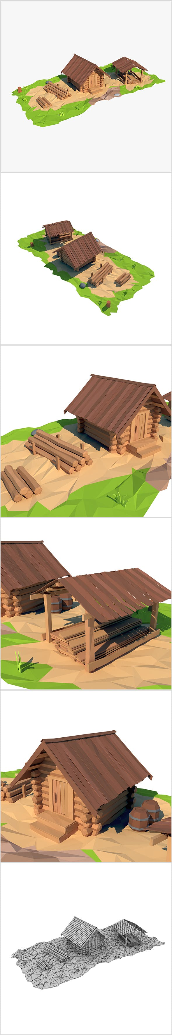 Cartoon wooden sawmill - 3DOcean Item for Sale
