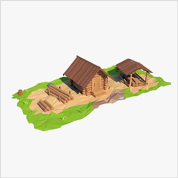 Cartoon wooden sawmill