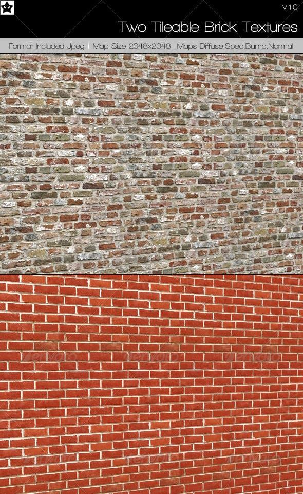 2 Tileable Brick Textures - 3DOcean Item for Sale