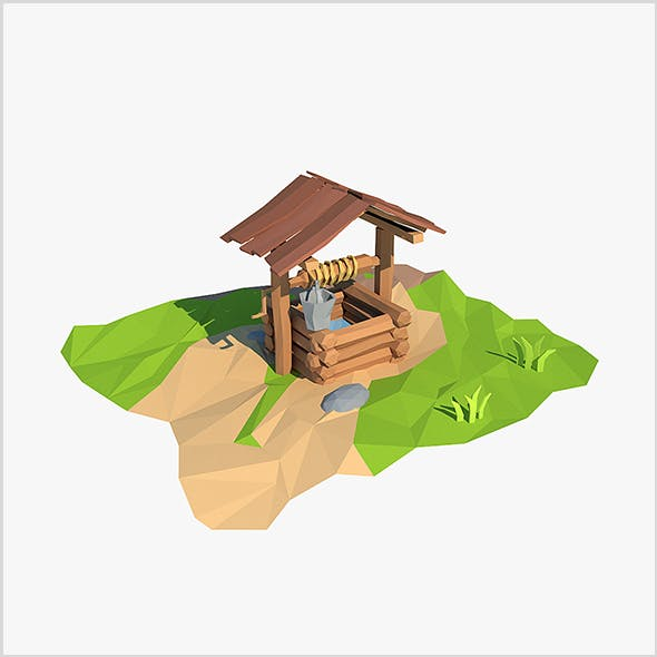 Cartoon wooden well