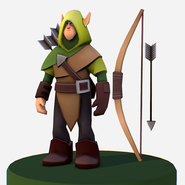 Handpaint Cartoon Archer Scout MMO rpg Character - 3DOcean Item for Sale