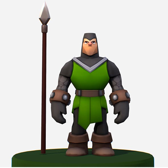 Handpaint Cartoon Medieval Footman Character