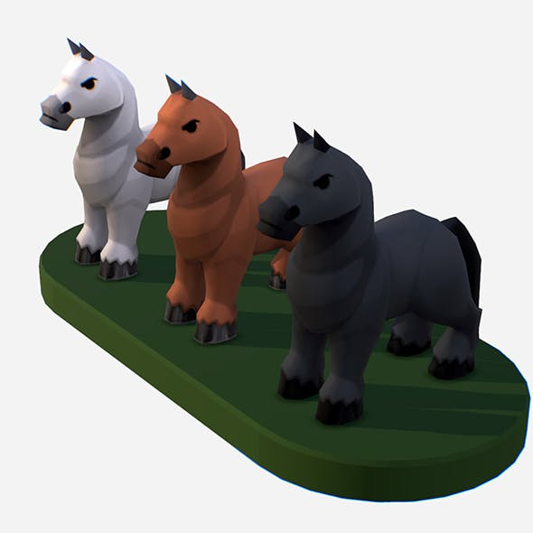 Handpaint Cartoon Medieval Horse MMO Animal