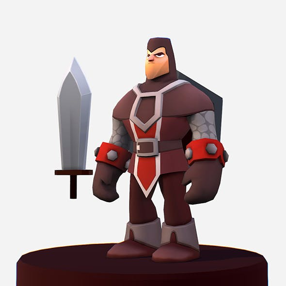 Handpaint Cartoon Knight MMO Character