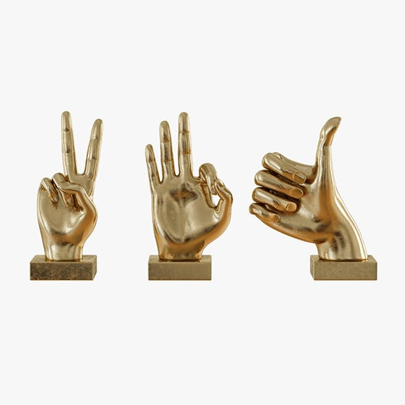 Metallic Hand 3 Piece Figurine Set - 3DOcean Item for Sale