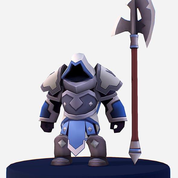 Handpaint Cartoon Armored Dark Spearman - 3DOcean Item for Sale