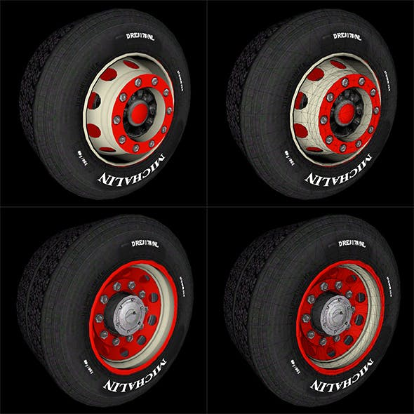 Car Wheel Full - Wheel Rear with Wheel front Full texture - 3DOcean Item for Sale