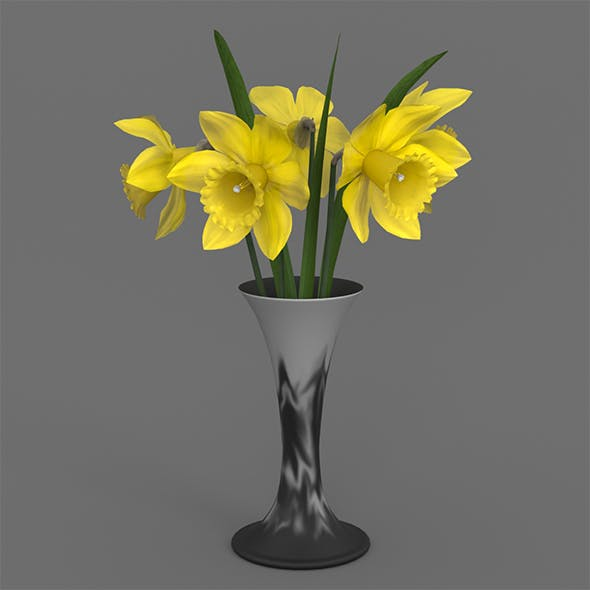 Vase and narcissus - 3DOcean Item for Sale