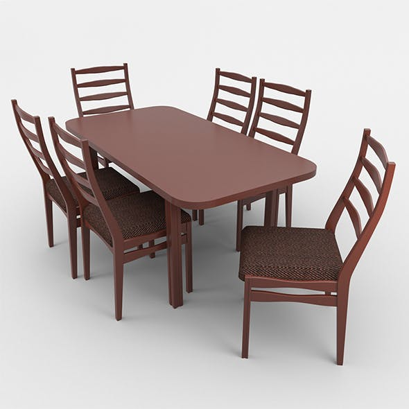 Rectangular table & cairs - 3DOcean Item for Sale