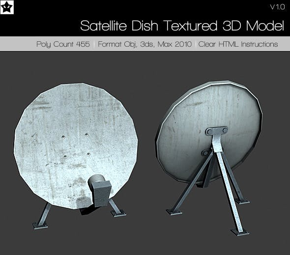 Satellite Dish Textured 3D Model - 3DOcean Item for Sale
