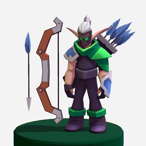 Handpaint Cartoon Archer Warrior MMO rpg Character - 3DOcean Item for Sale