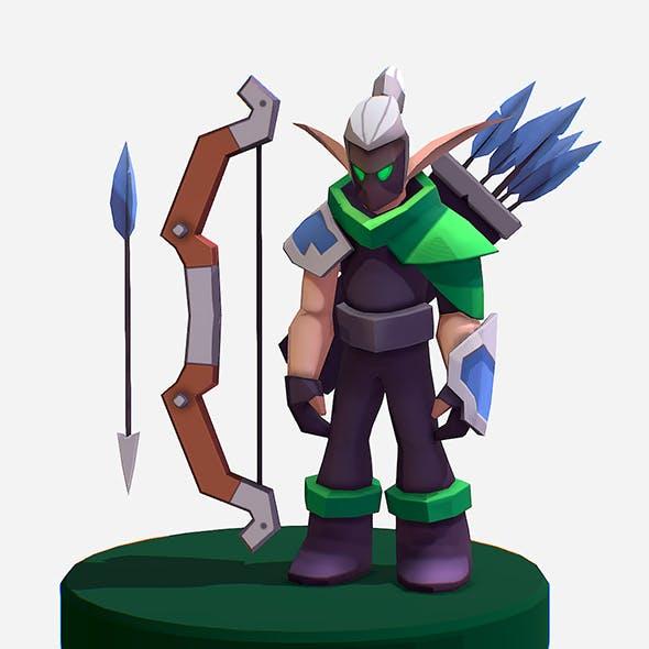 Handpaint Cartoon Archer Warrior MMO rpg Character