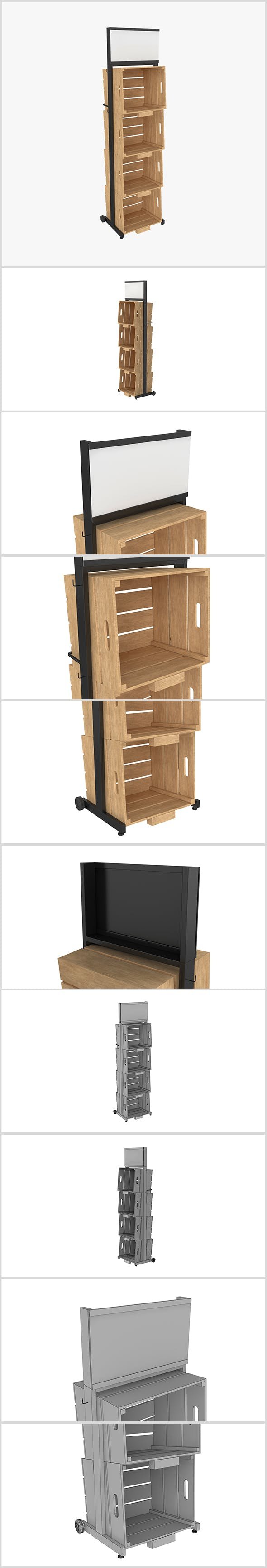 Stand Metal Wood 3D - 3DOcean Item for Sale