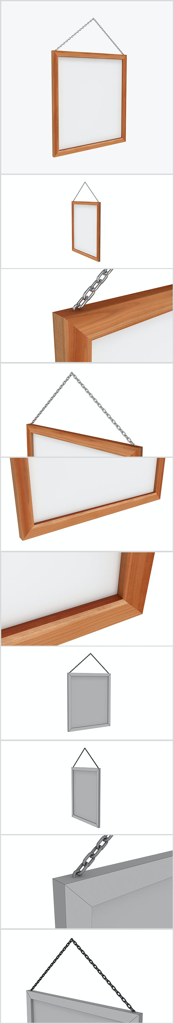 Wood Frame 3D - 3DOcean Item for Sale