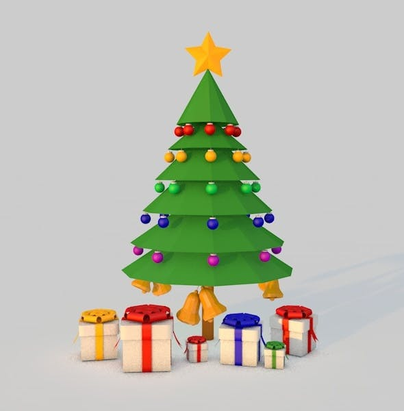 Low poly Christmas Tree with Balls,Bells and Gift Boxes - 3DOcean Item for Sale