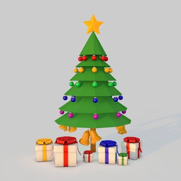 Low poly Christmas Tree with Balls,Bells and Gift Boxes