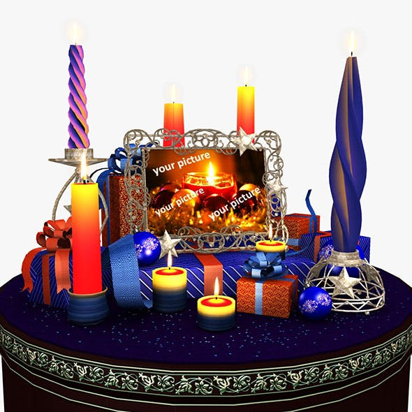 Christmas scene with a bunch of presents in a room with candles 02