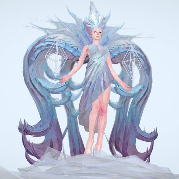 low Polygon Art White Angel A. Women 3d Model - 3DOcean Item for Sale