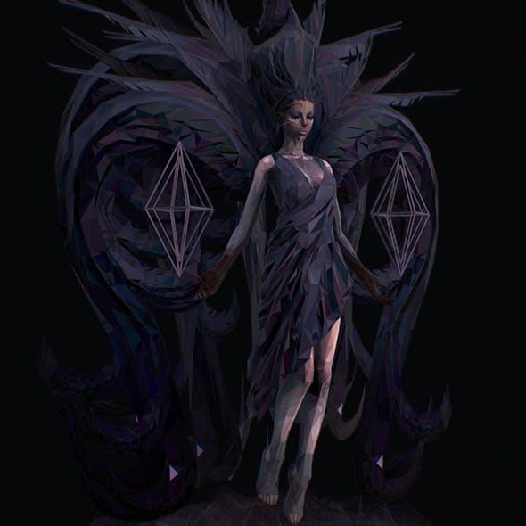 Polygon Art Dark Angel B. Witch 3d Model