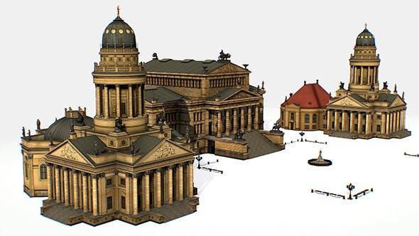 Gendarmenmarkt German French Church Konzerthaus - 3DOcean Item for Sale