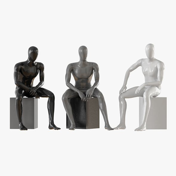 Three seated faceless mannequins 13 - 3DOcean Item for Sale