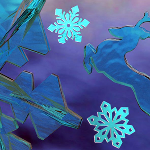 Snowflakes Low Poly 3D