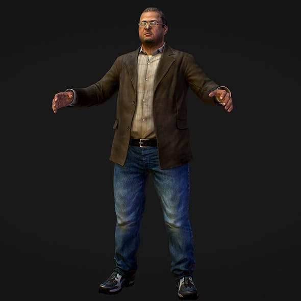 Realistic Man in Jeans Shirt and Jacket