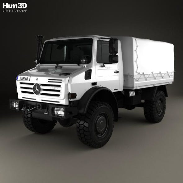 Mercedes-Benz Unimog U4000 Flatbed Canopy Truck 2000 - 3DOcean Item for Sale