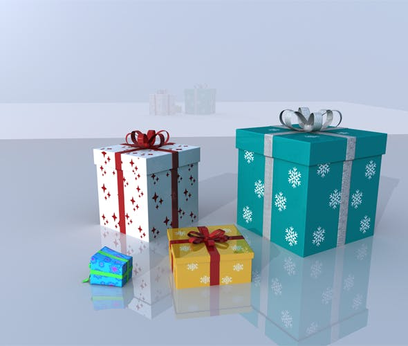 Christmas Gifts 3D Models - 3DOcean Item for Sale