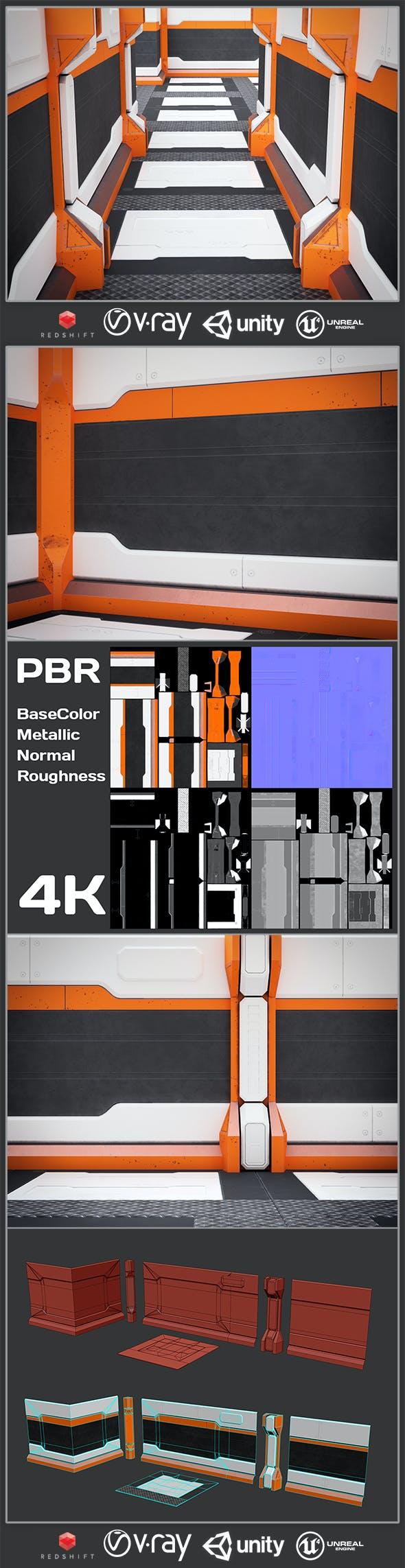 Spaceship Sci-fi interior kitbash set 01 Low-poly - 3DOcean Item for Sale