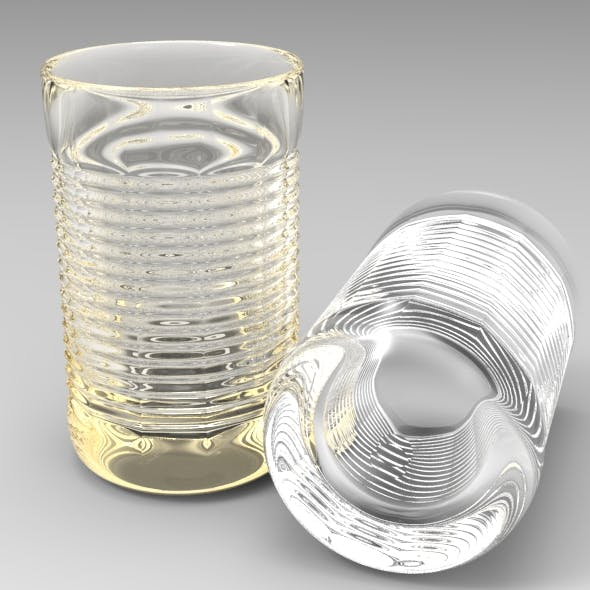 Horizontally Ribbed Collins Tumbler Glass