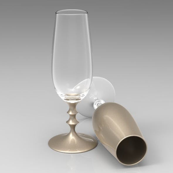 Wine Flute with Turned Stem - 3DOcean Item for Sale