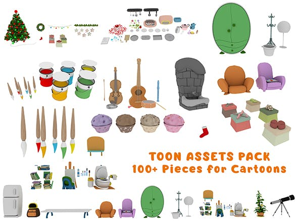 Cartoon Assets Pack - 3DOcean Item for Sale