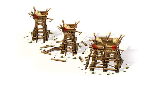 Handpaint Cartoon Wooden Building Bastion model - 3DOcean Item for Sale
