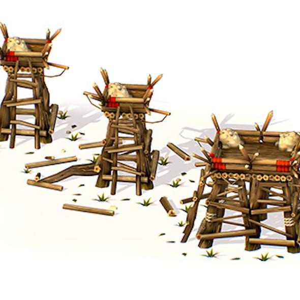 Handpaint Cartoon Wooden Building Bastion model